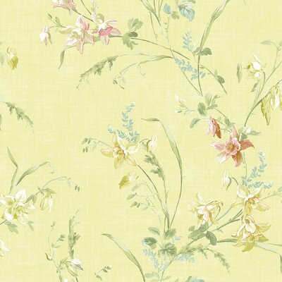 Willow Cottage Lily Trail Wallpaper in Paled Yellow