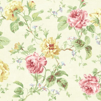 Willow Cottage Rose Trail Wallpaper in Egg-Shell White