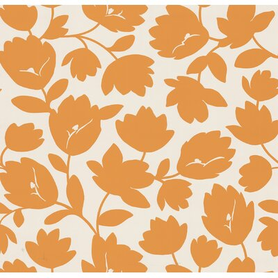 Brewster Home Fashions Echo Design Flirty Floral Wallpaper in Orange