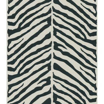 Brewster Home Fashions Echo Design Herringbone Black Zebra with Tonal Cream Wallpaper