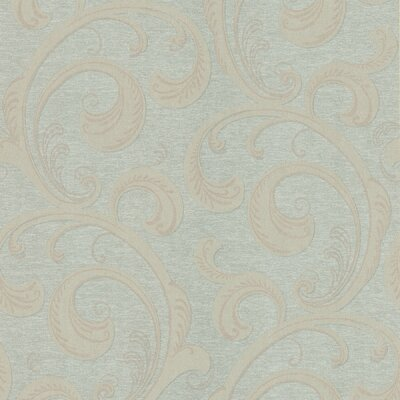 Brewster Home Fashions Serene Scroll Wallpaper in Cream / Light Clove Green
