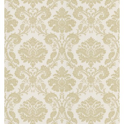Mirage Signature V Fabric Damask Wallpaper in Tonal Creamy Beige