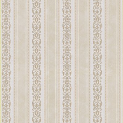 Satin Rose Scroll Stripe Wallpaper in Buttered Yellow / White