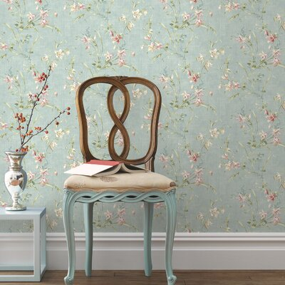 Willow Cottage Lily Trail Wallpaper in Light Blue