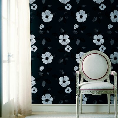 Ink Veined Floral Wallpaper in Gray