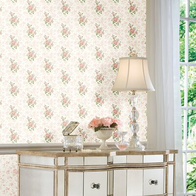Satin Rose Floral Toss Wallpaper in White