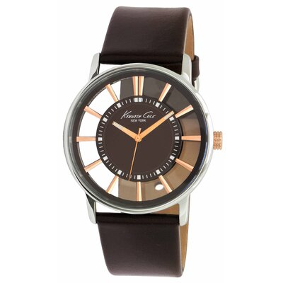 Kenneth Cole Men's Straps Transparency Watch in Brown and Rose Gold