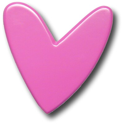 One World Modern Heart Drawer Knob in Fuchsia
