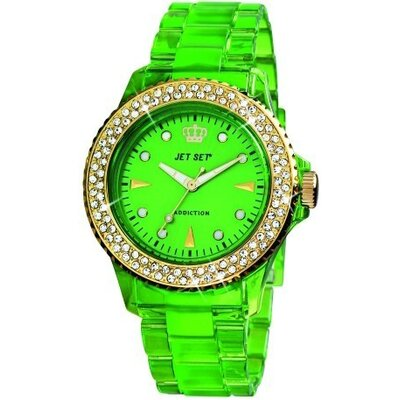 Addiction Ladies Watch in Polished Green with Gold Bezel