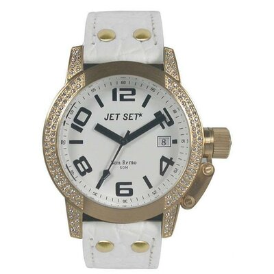 Jet Set San Remo Ladies Watch with White Band and Gold Case