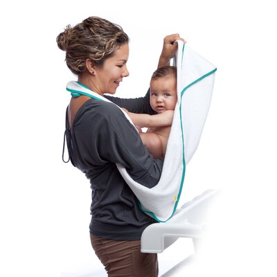 maamam aacua 4 in 1 Bath Towel in Teal Trim in White