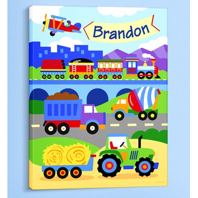 Trains, Planes and Trucks Personalized Canvas Art