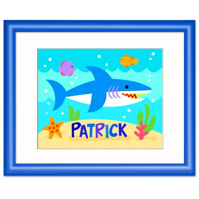 Ocean Shark Personalized Wood Print