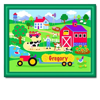 Olive Kids Country Farm Personalized Print with Dark Green Frame