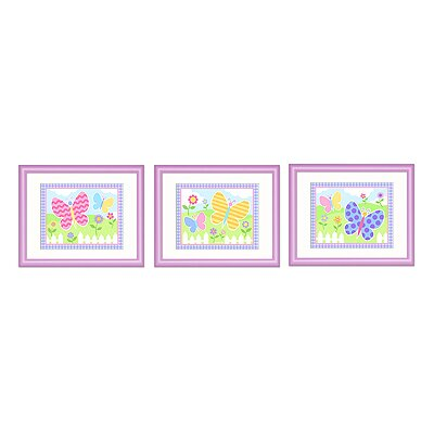 Butterfly Garden Print with Lilac Frame (Set of 3)