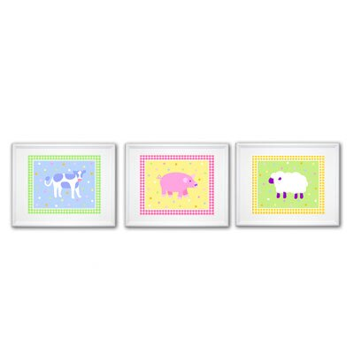 Olive Kids Country Baby Print with White Frame (Set of 3)