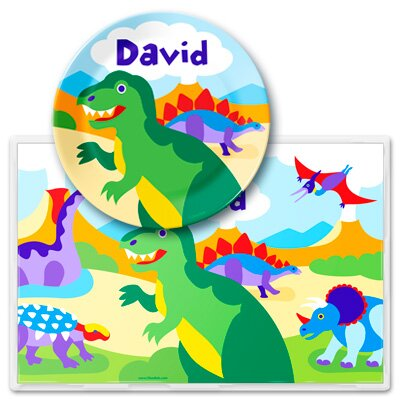 Olive Kids Dinosaur Land Personalized Meal Time Plate Set