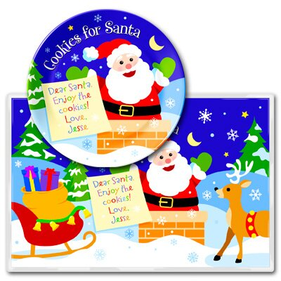 Olive Kids Cookies for Santa Personalized Meal Time Plate Set