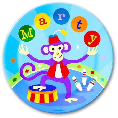 Olive Kids Big Top Monkey Personalized Kids Plate