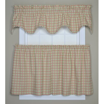Ellis Curtain Charlestown Check Lined Scallop Valance in Watermelon