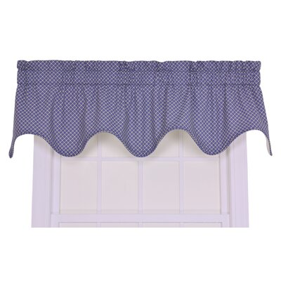 Ellis Curtain Tremblay / Tyvek Small Scale Scroll Lined Scallop Valance Window Curtain in Blue