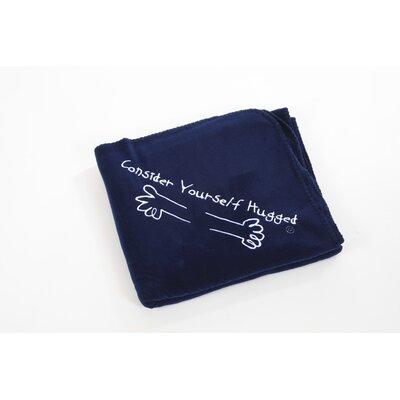 Consider Yourself Hugged Fleece Throw in Navy with White Hug