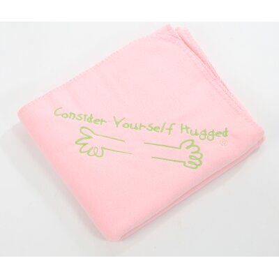 Consider Yourself Hugged Fleece Throw in Pink with Lime Hug