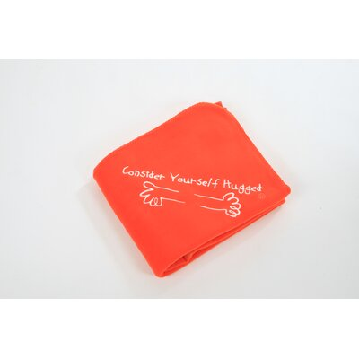 Consider Yourself Hugged Fleece Throw in Orange with White Hug
