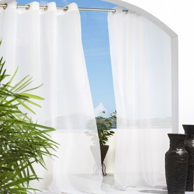 Commonwealth Home Fashions Outdoor Décor Escape Outdoor Sheer Grommet Top Curtain Panel in White