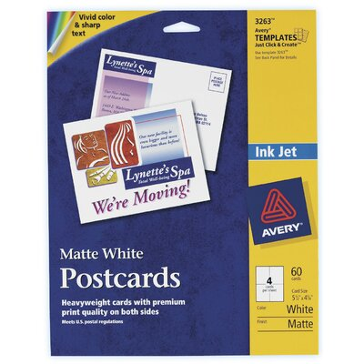 "Avery 60 Count 5-1/2"" x 4-1/4"" Matte PC60 Postcard in White"