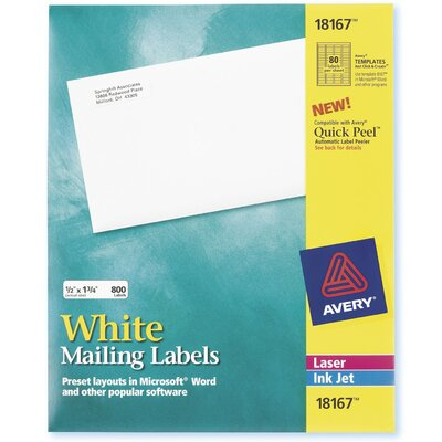 "Avery 9.25"" 10 Sheets Mailing Label in White"