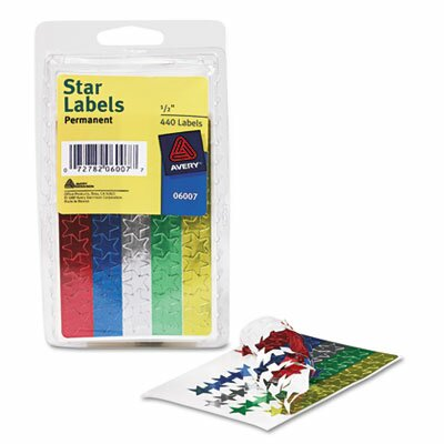 Avery Self-Adhesive Assorted Color Foil Stars, 440/Pack