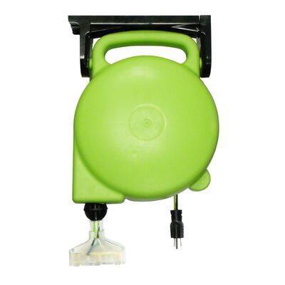 Designers Edge 14/3-Gauge Retractable Cord Reel with Grounded Light-Up Triple Tap
