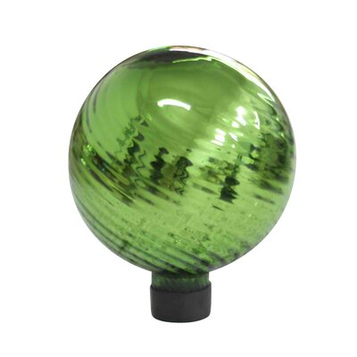 "Alpine 6"" Green Swirl Plated Glass Gazing Globe"