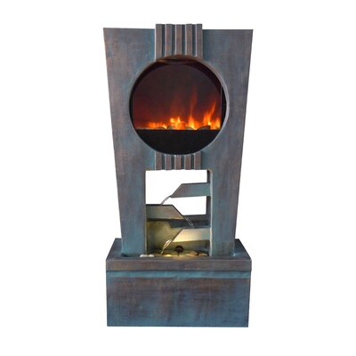 Alpine Ultra Fire Fiberglass Cascading Fountain with LED Light