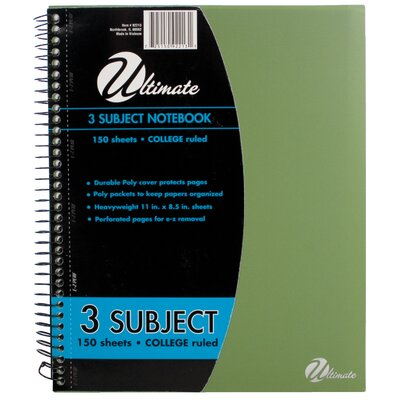 "ItsAcademic 11"" x 8.5"" 3-Subject Notebook"