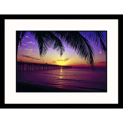 Great American Picture Sunrise on Fishing Pier Framed Photograph - Warren Flagler