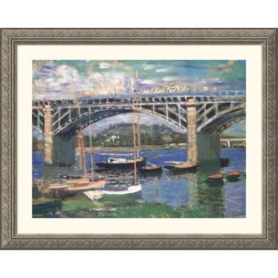 Great American Picture Railway Bridge, Near Argenteuil Silver Framed Print - Claude Monet