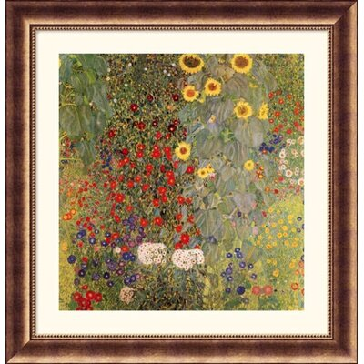 Garden with Sunflowers Bronze Framed Print - Gustav Klimt