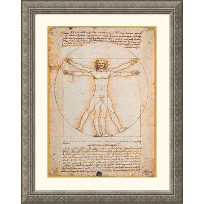 Great American Picture Proportions of the Human Figure (Vitruvian Man) Silver Framed Print - Leonardo da Vinci
