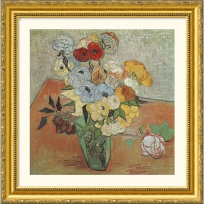Great American Picture Roses and Anemones Gold Framed Print - Vincent van Gogh