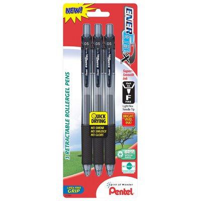 Pentel 0.5 mm Needle Point Gel Pen in Black (Set of 3)