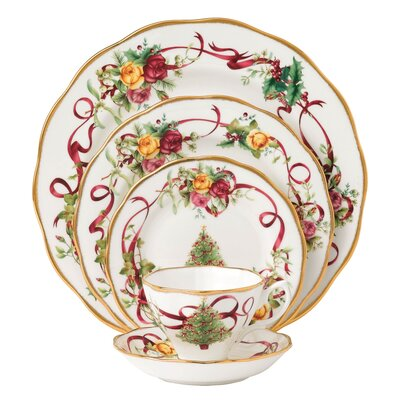 Old Country Roses Christmas Tree 5 Piece Place Setting