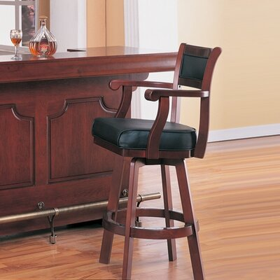 Wildon Home ® Tiernan Bar Stool with Swivel Leather Cushion Seat and Back in Cherry