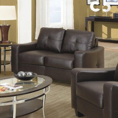 Wildon Home ® Oakwood Leather Loveseat