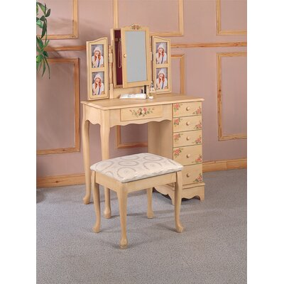 Wildon Home ® Woodway Hand Painted Vanity Set with Stool in Ivory