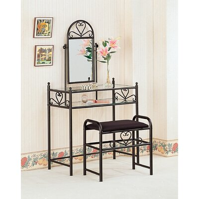 Wildon Home ® Bullhead City Heart Shape Vanity Set with Stool in Black