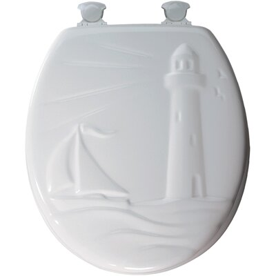 Bemis Round Molded Wood Lighthouse Design Toilet Seat with Easy Clean and Change Hinges