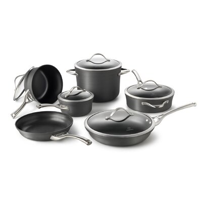 Contemporary Hard Anodized Aluminum 11-Piece Cookware Set