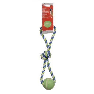 Dogit Striped Cotton Loop Tug with 2 Tennis Ball Dog Toy
